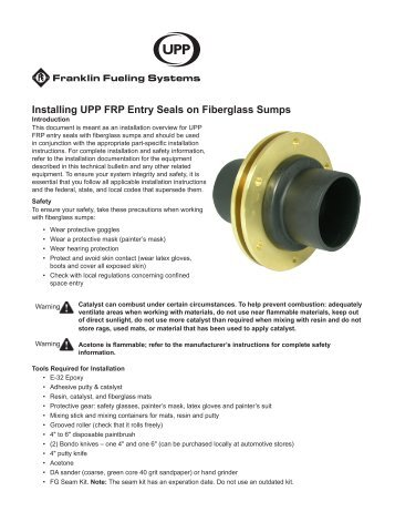 Installation: UPP FRP Seals on Fiberglass Sump - Franklin Fueling ...