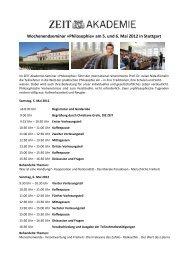 Wochenendseminar »Philosophie« am 5. und 6. Mai ... - ZEIT Shop