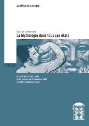 La Mythologie dans tous ses états - Societe de Lecture Geneve