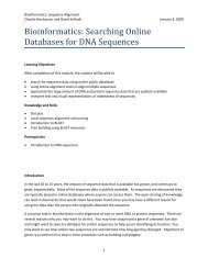Bioinformatics: Searching Online Databases for DNA Sequences