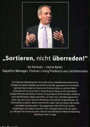 Horst Kelm, Sapphire Manager - Forever Living Products