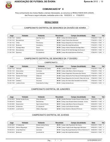 Resultado - Associação de Futebol de Évora