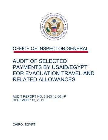Audit of Selected Payments By USAID/Egypt For Evacuation Travel ...