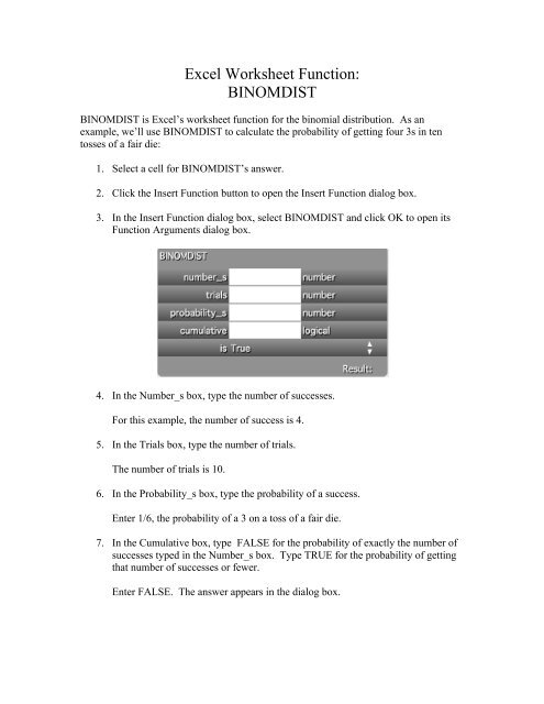 Excel Worksheet Function: BINOMDIST