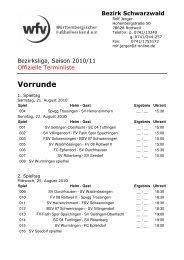 Spielplan Bezirksliga als - BSV 07 Schwenningen