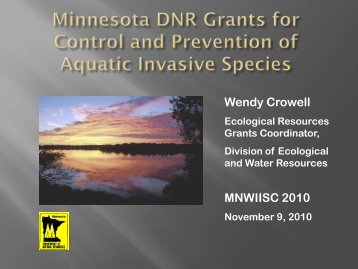 Minnesota DNR Grants for Control and Prevention of Aquatic ...