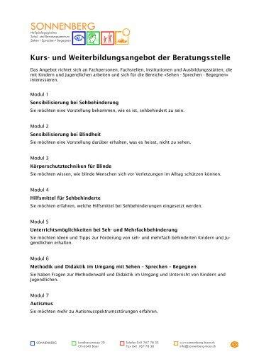 Kurs- und Weiterbildungsangebot der ... - SONNENBERG