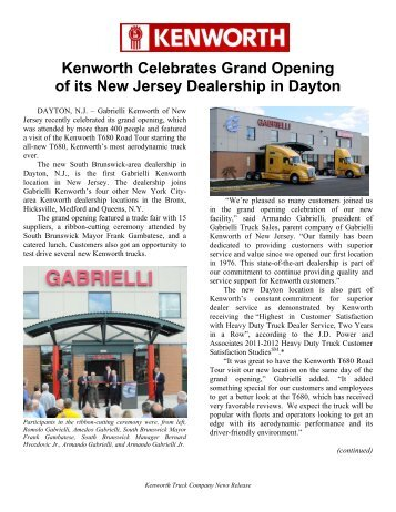 Kenworth Celebrates Grand Opening of its New Jersey Dealership ...