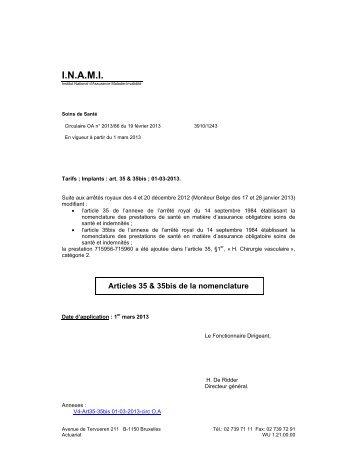 Tarifs des Implants - A partir du 01/03/2013 - Inami