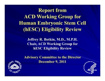 ACD Stem Cell Working Group Report Presentation (PDF – 1585KB)