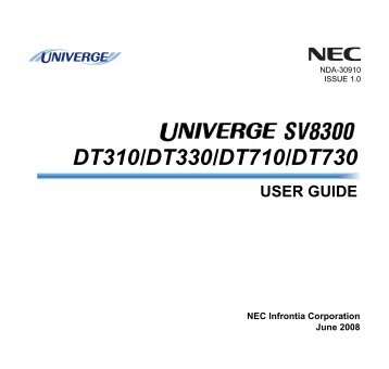 Telephone User Guide NEC â Dterm SERIES i For NEC 2000 PBX