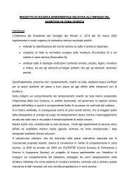 PROGETTO DI RICERCA SPERIMENTALE RELATIVA ALL ... - Rdb