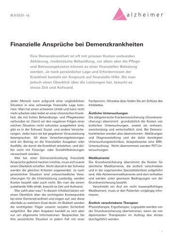 Finanzielle Ansprüche bei Demenzkrankheiten - Schweizerische ...