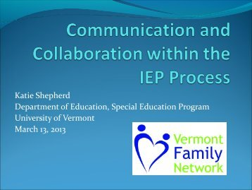 Communication and Collaboration within the IEP ... - Direction Service