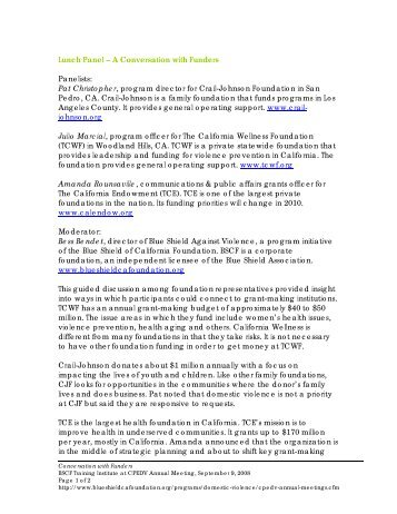 Summary Notes - Blue Shield of California Foundation