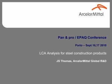 Life cycle analysis for steel construction products - EPAQ