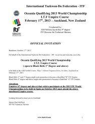 Full details of the course - International Taekwon-Do