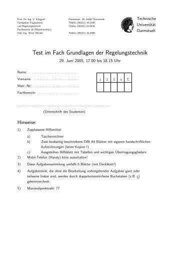 Test im Fach Grundlagen der Regelungstechnik - Technische ...