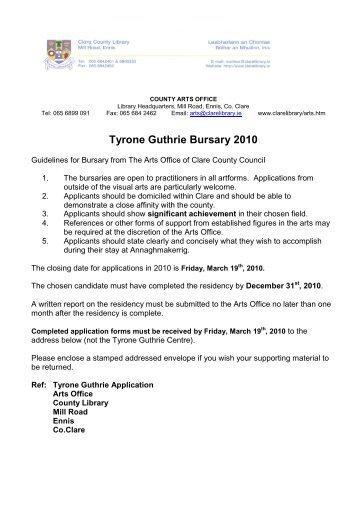 Tyrone Guthrie Bursary 2010 - Clare County Library