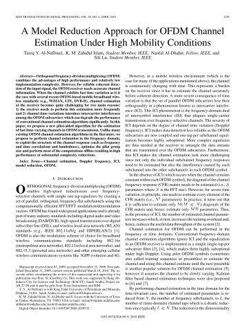 ofdm channel estimation Simulation for channel estimation techniques using ls, lmmmse, and computationally efficient lmmmse methods % ref: j j van de beek, synchronization and channel estimation in ofdm systems, phd thesis,sept 1998.