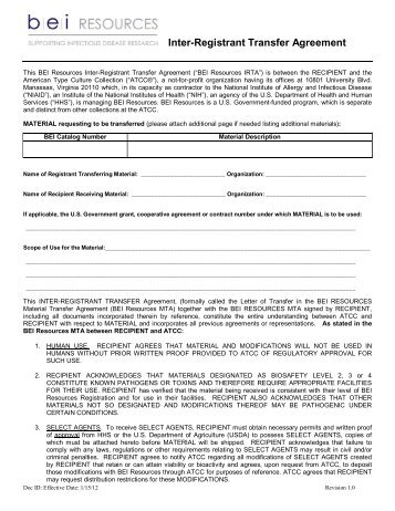 Individual Material Transfer Agreement Bei Resources