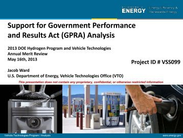 (GPRA) Analysis - U.S. Department of Energy