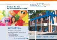 Sonntag, 5. August 2007 von 10.30 Uhr bis 17.00 Uhr BANKZEIT