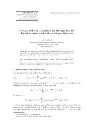 Certain Sufficient Conditions for Strongly Starlike Functions ...