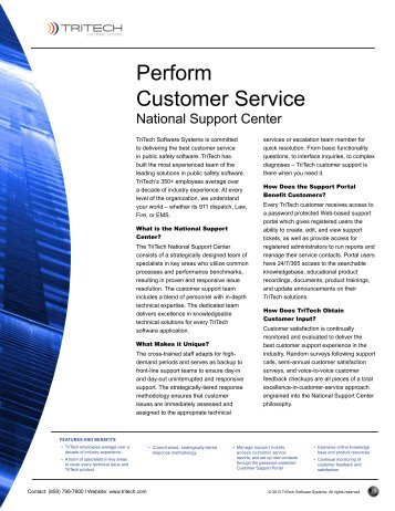 Perform Customer Service - TriTech Software Systems