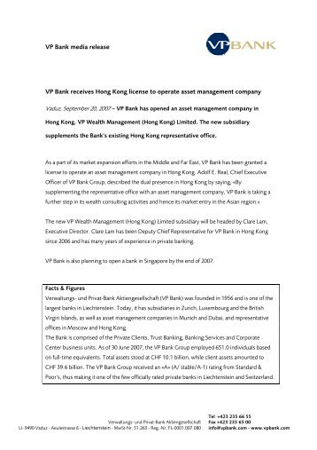 VP Bank media release VP Bank receives Hong Kong license to ...