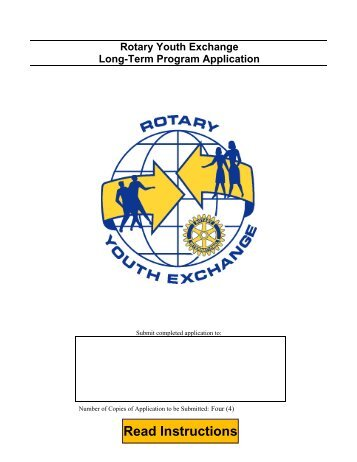 Rotary Youth Exchange Long Term Application - Eastern States ...