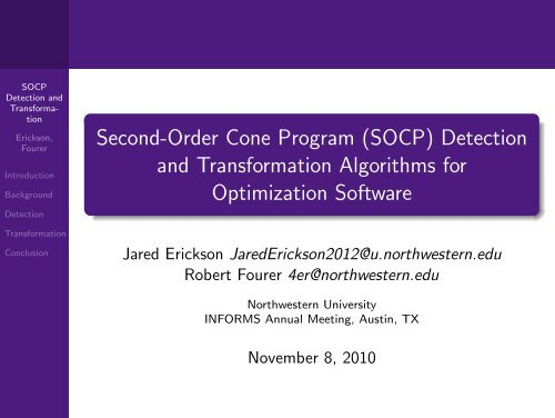 Second-Order Cone Program (SOCP) Detection and     - Ampl