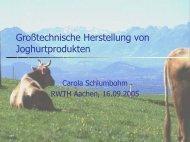 Rohstoff Milch zur industriellen Produktion von Sauermilchprodukten