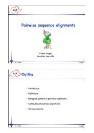 Pairwise sequence alignments
