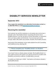 Disability Services newsletter September 2012 - Unilife - Curtin ...