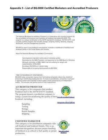 Appendix 5 - List of BQ-9000 Certified Marketers and Accredited ...