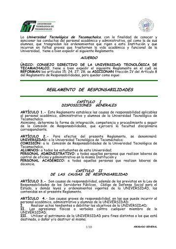 REFORMA REGLAMENTO RESPONSABILIDADES - Universidad ...