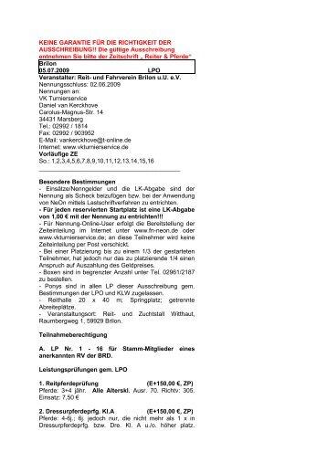 Brilon - Turnierservice Van Kerckhove