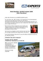 RULE Booklet GUIDE Projekt 2009 -Köln Marathon - Experts in Speed