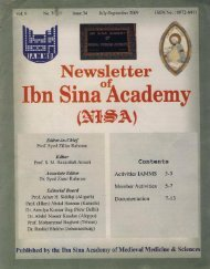 NISA 2009 - Ibn Sina Academy of Medieval Medicine and Science