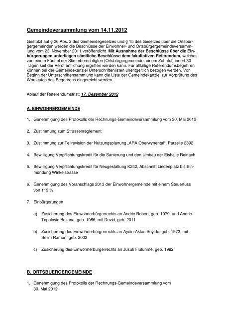 Gemeindeversammlung vom 14.11.2012 - Reinach