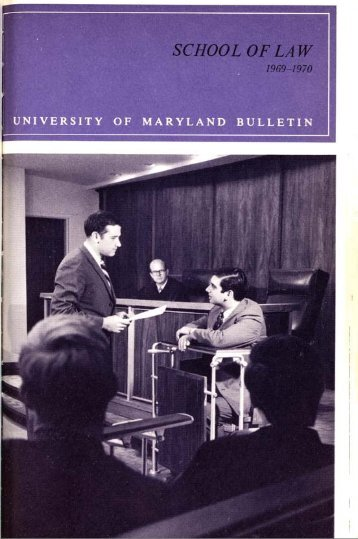 University of Maryland School of Law : Catalog, 1969-1970