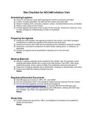 Site Checklist for NCCAM Initiation Visit