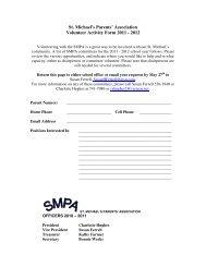 St. Michael's Parents' Association Volunteer Activity Form 2011 - 2012