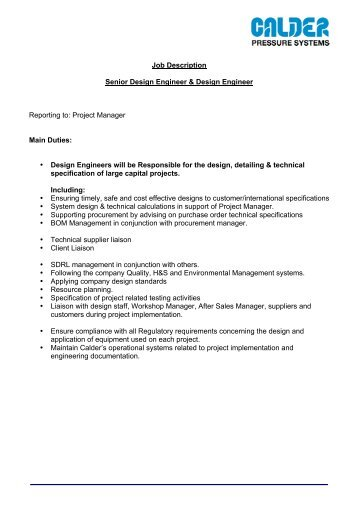 Job Description Cad Design Engineer MF  Pidso