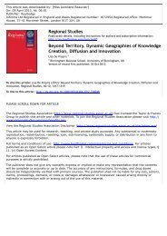 Beyond Territory. Dynamic Geographies of Knowledge Creation ...
