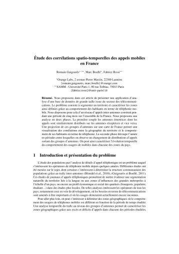 Étude des corrélations spatio-temporelles des ... - Fabrice Rossi