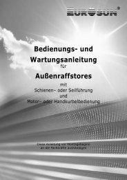 Bedienungs- und Wartungsanleitung Außenraffstores - Eurosun as
