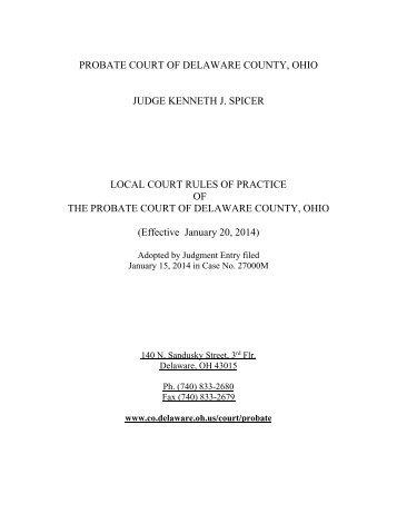 Delaware County Probate Court Local Rules - Delaware County, Ohio