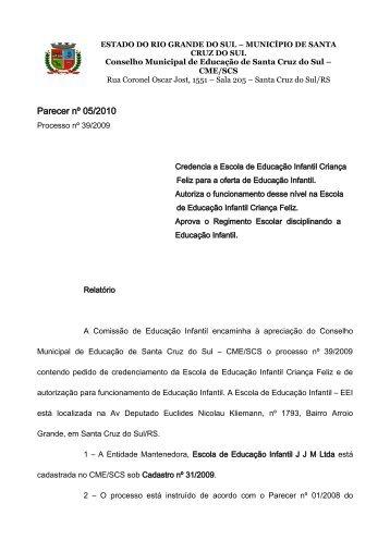 Parecer nº 05/2010 - Prefeitura de Santa Cruz do Sul